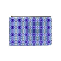 Light Blue Purple White Girly Pattern Cosmetic Bag (medium)  by Costasonlineshop