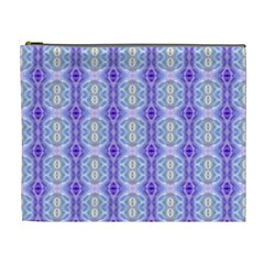 Light Blue Purple White Girly Pattern Cosmetic Bag (xl) by Costasonlineshop