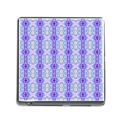 Light Blue Purple White Girly Pattern Memory Card Reader (square)