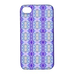 Light Blue Purple White Girly Pattern Apple Iphone 4/4s Hardshell Case With Stand