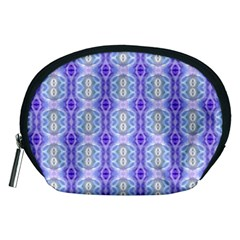 Light Blue Purple White Girly Pattern Accessory Pouches (medium)  by Costasonlineshop
