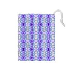 Light Blue Purple White Girly Pattern Drawstring Pouches (medium)  by Costasonlineshop