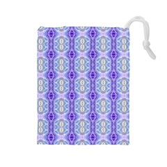 Light Blue Purple White Girly Pattern Drawstring Pouches (large)  by Costasonlineshop