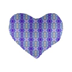Light Blue Purple White Girly Pattern Standard 16  Premium Flano Heart Shape Cushions by Costasonlineshop