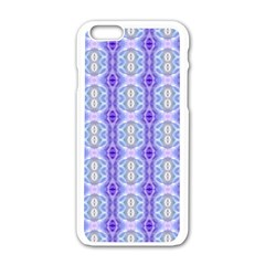 Light Blue Purple White Girly Pattern Apple Iphone 6/6s White Enamel Case by Costasonlineshop