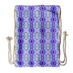 Light Blue Purple White Girly Pattern Drawstring Bag (large) by Costasonlineshop