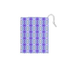 Light Blue Purple White Girly Pattern Drawstring Pouches (xs)  by Costasonlineshop