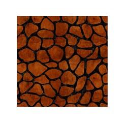 Skin1 Black Marble & Brown Burl Wood Small Satin Scarf (square) by trendistuff