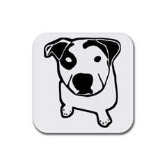 Pit Bull T Bone Graphic Rubber Square Coaster (4 Pack) by ButThePitBull