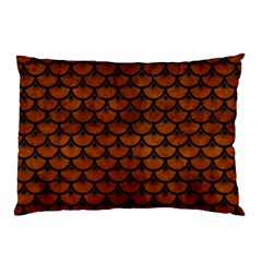 Scales3 Black Marble & Brown Burl Wood (r) Pillow Case (two Sides) by trendistuff