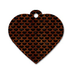 Scales3 Black Marble & Brown Burl Wood Dog Tag Heart (two Sides) by trendistuff