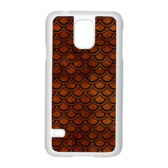Scales2 Black Marble & Brown Burl Wood (r) Samsung Galaxy S5 Case (white) by trendistuff
