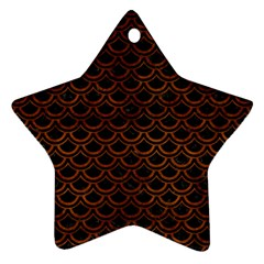 Scales2 Black Marble & Brown Burl Wood Star Ornament (two Sides) by trendistuff