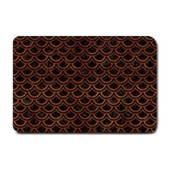 Scales2 Black Marble & Brown Burl Wood Small Doormat by trendistuff