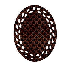 Scales2 Black Marble & Brown Burl Wood Oval Filigree Ornament (two Sides) by trendistuff