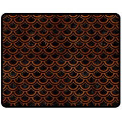 Scales2 Black Marble & Brown Burl Wood Double Sided Fleece Blanket (medium) by trendistuff