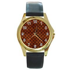 Scales1 Black Marble & Brown Burl Wood (r) Round Gold Metal Watch by trendistuff