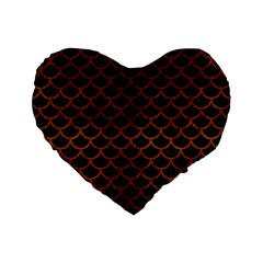 Scales1 Black Marble & Brown Burl Wood Standard 16  Premium Flano Heart Shape Cushion  by trendistuff