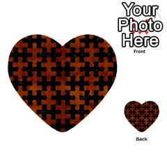 Puzzle1 Black Marble & Brown Burl Wood Multi Purpose Cards (heart) by trendistuff