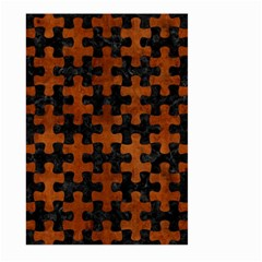 Puzzle1 Black Marble & Brown Burl Wood Large Garden Flag (two Sides) by trendistuff