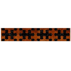 Puzzle1 Black Marble & Brown Burl Wood Flano Scarf (large) by trendistuff