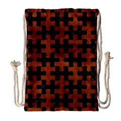 Puzzle1 Black Marble & Brown Burl Wood Drawstring Bag (large) by trendistuff