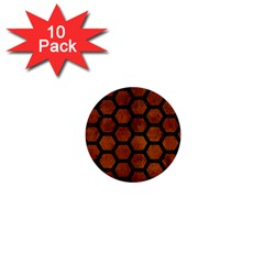 Hexagon2 Black Marble & Brown Burl Wood (r) 1  Mini Button (10 Pack)  by trendistuff