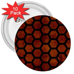 Hexagon2 Black Marble & Brown Burl Wood (r) 3  Button (10 Pack) by trendistuff