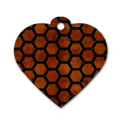 Hexagon2 Black Marble & Brown Burl Wood (r) Dog Tag Heart (one Side) by trendistuff