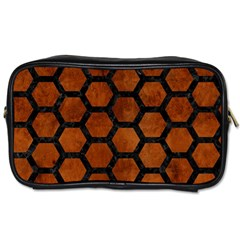 Hexagon2 Black Marble & Brown Burl Wood (r) Toiletries Bag (two Sides) by trendistuff