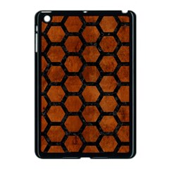 Hexagon2 Black Marble & Brown Burl Wood (r) Apple Ipad Mini Case (black) by trendistuff