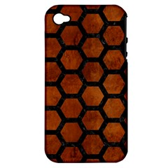 Hexagon2 Black Marble & Brown Burl Wood (r) Apple Iphone 4/4s Hardshell Case (pc+silicone) by trendistuff