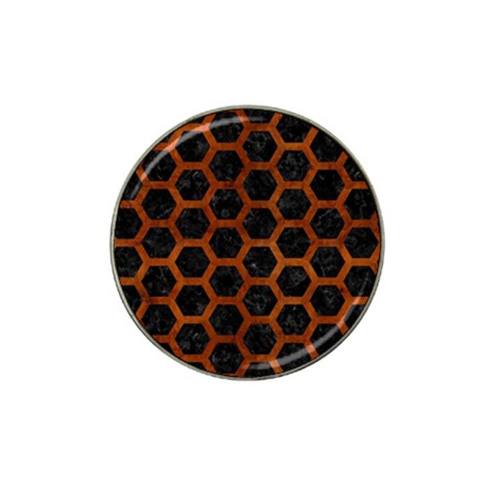 HEXAGON2 BLACK MARBLE & BROWN BURL WOOD Hat Clip Ball Marker