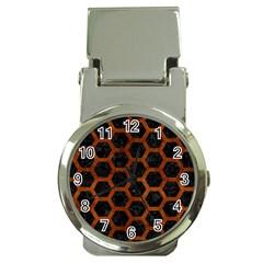 Hexagon2 Black Marble & Brown Burl Wood Money Clip Watch by trendistuff