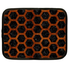 Hexagon2 Black Marble & Brown Burl Wood Netbook Case (xxl) by trendistuff