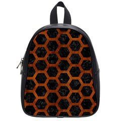 Hexagon2 Black Marble & Brown Burl Wood School Bag (small) by trendistuff