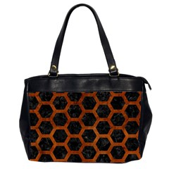 Hexagon2 Black Marble & Brown Burl Wood Oversize Office Handbag (2 Sides) by trendistuff