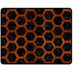 Hexagon2 Black Marble & Brown Burl Wood Fleece Blanket (medium) by trendistuff