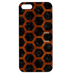 Hexagon2 Black Marble & Brown Burl Wood Apple Iphone 5 Hardshell Case With Stand by trendistuff