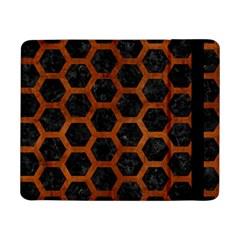 Hexagon2 Black Marble & Brown Burl Wood Samsung Galaxy Tab Pro 8 4  Flip Case by trendistuff
