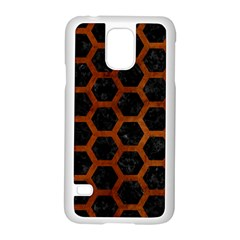 Hexagon2 Black Marble & Brown Burl Wood Samsung Galaxy S5 Case (white) by trendistuff