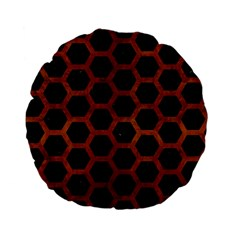 Hexagon2 Black Marble & Brown Burl Wood Standard 15  Premium Flano Round Cushion  by trendistuff