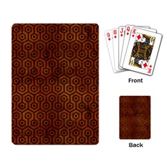 Hexagon1 Black Marble & Brown Burl Wood (r) Playing Cards Single Design by trendistuff