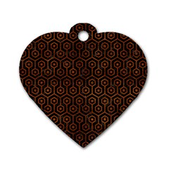 Hexagon1 Black Marble & Brown Burl Wood Dog Tag Heart (two Sides) by trendistuff