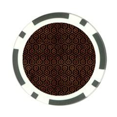 Hexagon1 Black Marble & Brown Burl Wood Poker Chip Card Guard by trendistuff