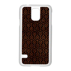 Hexagon1 Black Marble & Brown Burl Wood Samsung Galaxy S5 Case (white) by trendistuff
