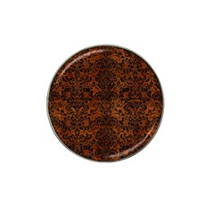 Damask2 Black Marble & Brown Burl Wood (r) Hat Clip Ball Marker (10 Pack) by trendistuff