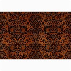 Damask2 Black Marble & Brown Burl Wood (r) Collage 12  X 18  by trendistuff