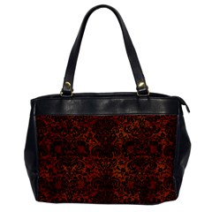 Damask2 Black Marble & Brown Burl Wood (r) Oversize Office Handbag by trendistuff