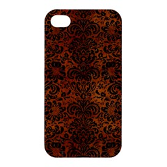Damask2 Black Marble & Brown Burl Wood (r) Apple Iphone 4/4s Hardshell Case by trendistuff